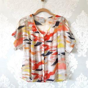 Maeve Sheer Silk Button Down Blouse / Shirt